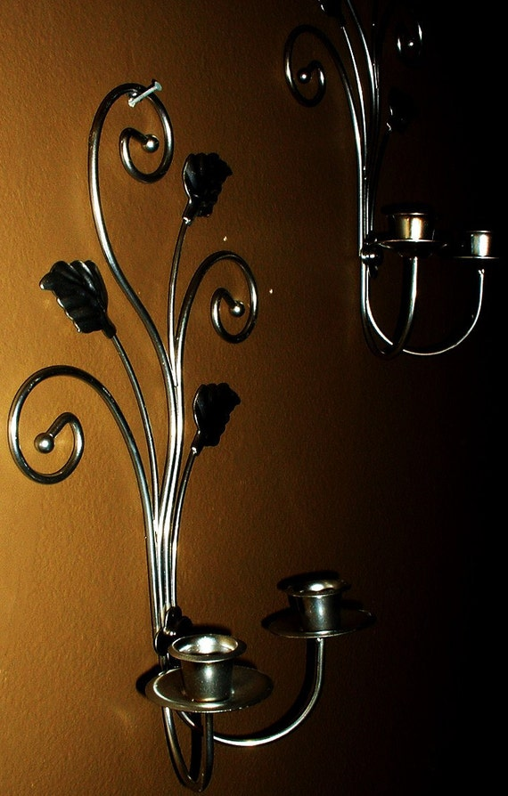 Vintage Pair Metal Leaf  Wall Hanging Candle Holders Upcycled to Chrome Silver