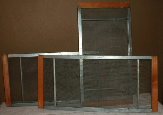 Lot of 3 vintage sliding window screens wood metal for Sliding timber screens