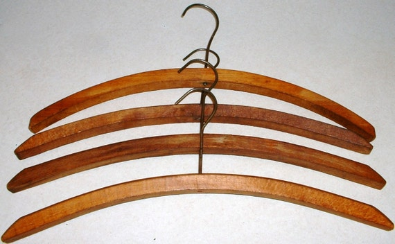 4 Vintage Wood Wooden Clothes Hangers w/ Wire