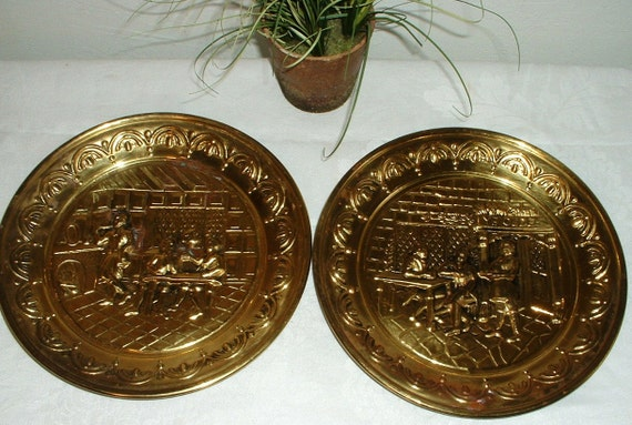 Set 2 Vintage Brass Wall Plaques Plates with Embossed Design