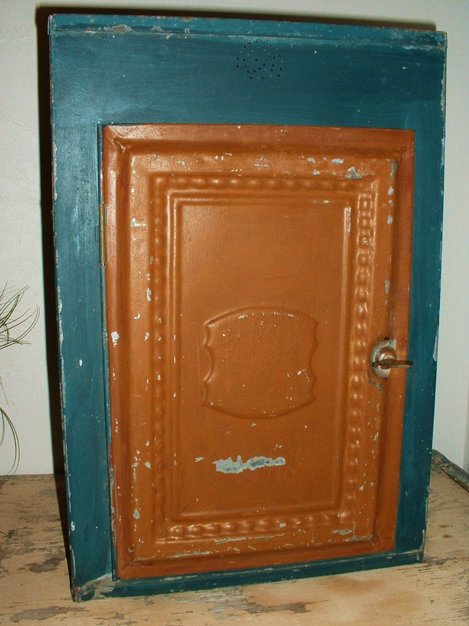 Antique Metal Tin Pie Safe Cabinet Jelly Cupboard Shabby Chic