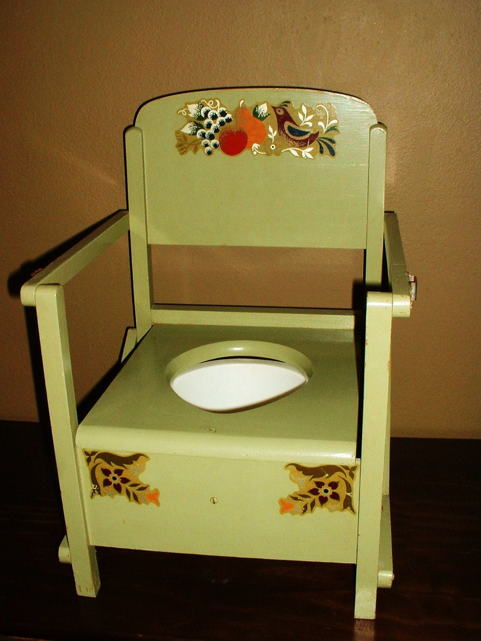 Vintage Wood Childs Potty Chair Toilet Sage Green