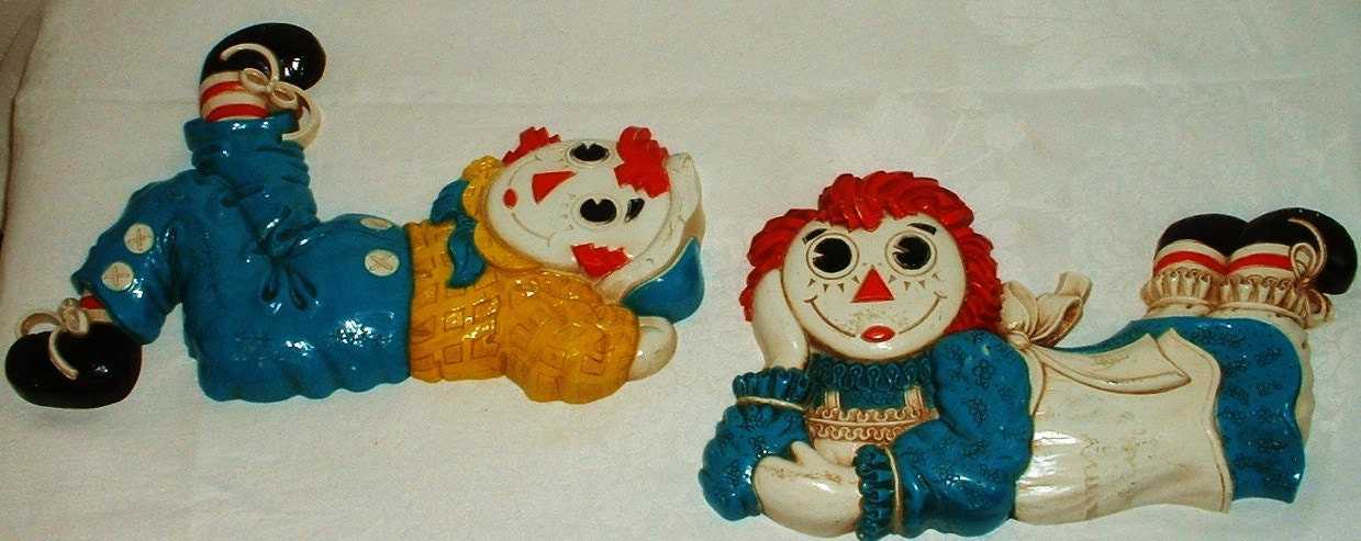 Vintage Raggedy Ann Amp Andy Wall Hanging Plaques Childrens