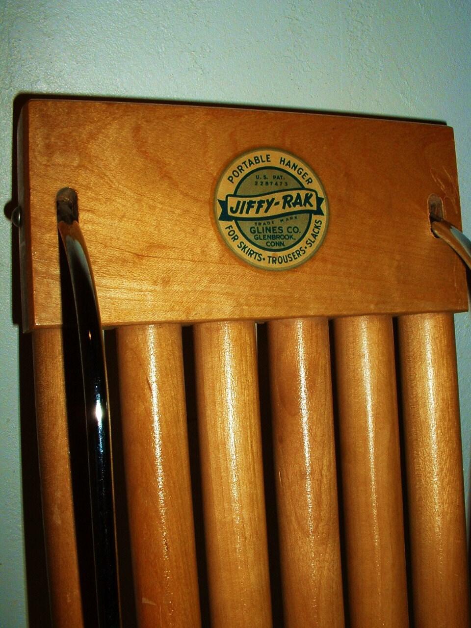 Vintage Jiffy Rak Portable Pants Skirt Hanger Wood Metal
