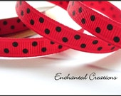 """3/8 """" Ladybug Red With Black Swiss Dots Ribbon Great for Hair Bows Scrapbooking Sewing etc."""