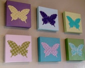 Set of 6 Butterfly Wall Art -  Canvas Painting With Hand-Stitched Fabric (Total Size 16x24)