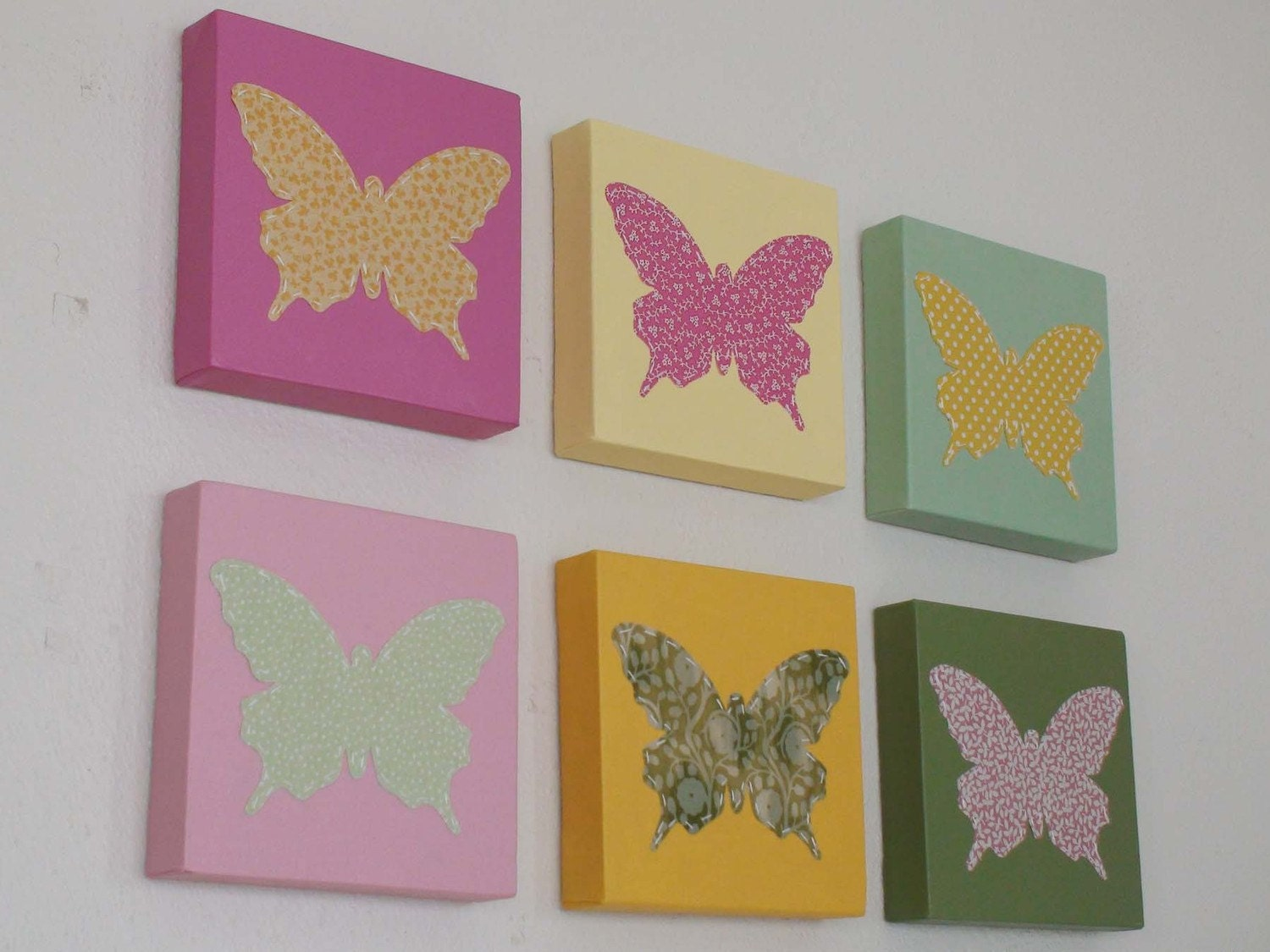 Set of 6 butterfly wall art canvas painting by babysullysart
