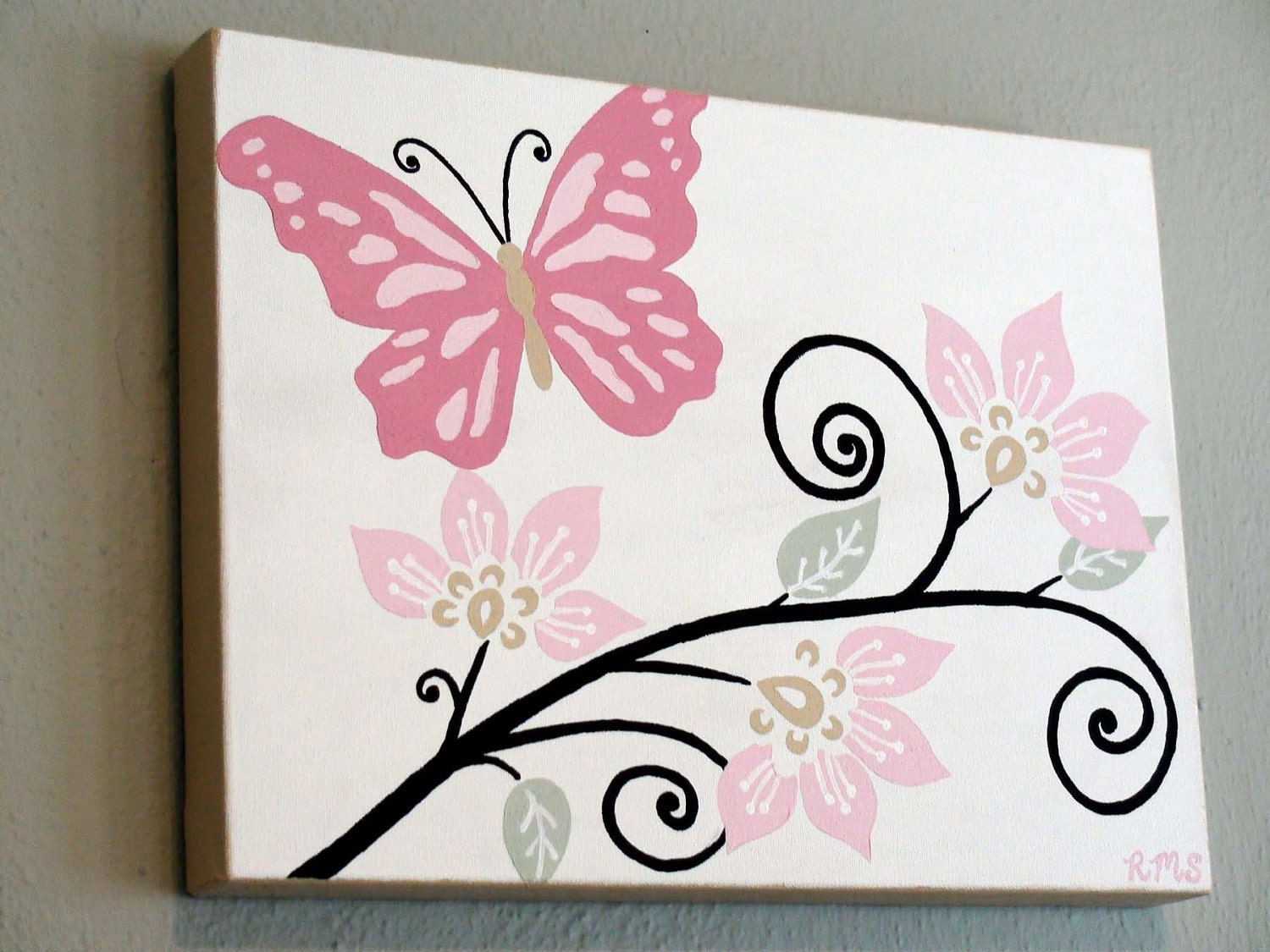 Original Acrylic Painting Butterfly with Swirly by ...