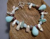 Keishi Pearl Peruvian Opal and Larimar Bracelet
