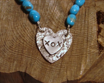 Genuine Turquoise Necklace with OOAK Heart XOX Fine Silver Pendant
