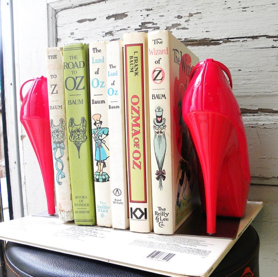 bookends repurposed cherry red high heel platform pumps. sexy bibliophile. book lover gift.