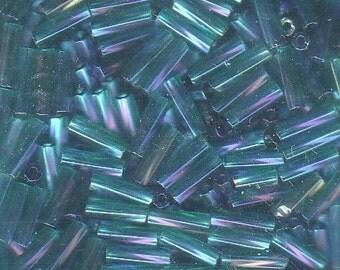 Bugle Beads - Teal Iris A/B TR - 7mm (No 3) Twisted Czech Glass Beads - 10 Grams