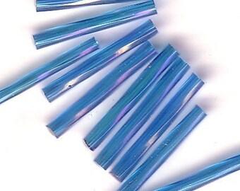 Bugle Beads - Aqua Iris A/B TR - 20mm Twisted Czech Glass Beads - QTY 50