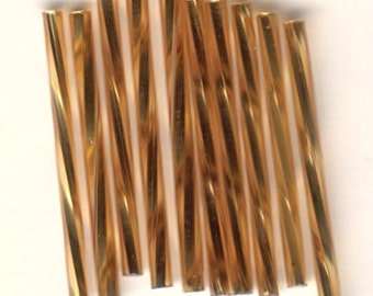 Bugle Beads - Gold SL - 30mm Czech Twisted Glass Beads - QTY 50