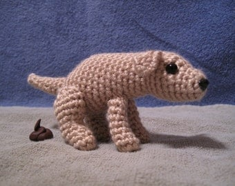 PATTERN - Pooping Dog Crochet Amigurumi - funny gift for scatologists and those who love toilet humor