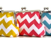 THREE CLUTCH SET  for bridesmaids Riley Blake Chevron in pink,  yellow, blue