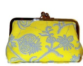 CLUTCH PURSE Amy Butler Lark in Yellow and Gray  for Bridesmaids