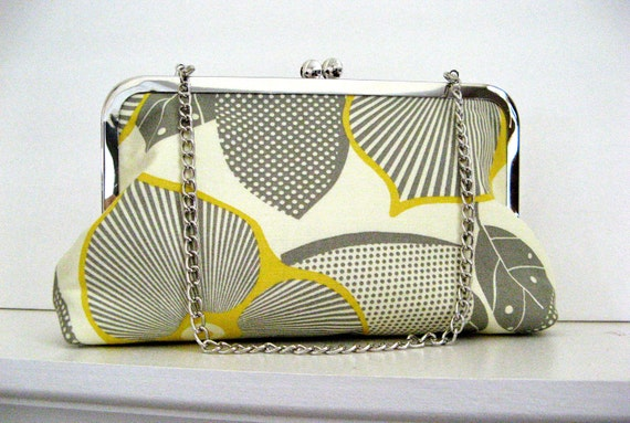 CLUTCH PURSE with CHAIN  Handmade for Bridesmaids or You in Amy Butler Optics or choose your own fabric