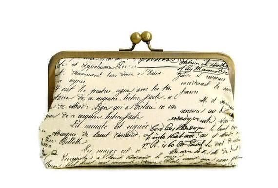 Clutch Purse Old Script  Handmade for Bridesmaids