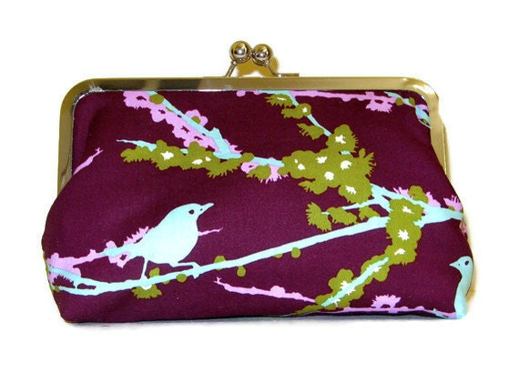 CLUTCH PURSE  Sparrows in Plum Bridesmaid Clutch