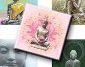 Digital Collage Sheet - Buddha 2 Inch Squares
