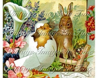 Vintage Victorian Scrap Image - Easter Chick and Bunny