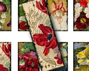 Digital Collage Sheet, Microscope Slides - Florals