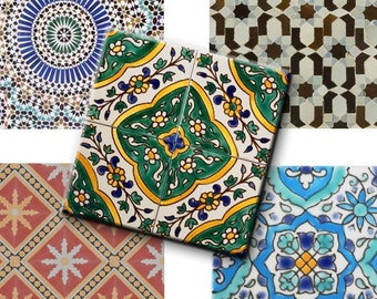 Digital Collage Sheets Vintage Tile Patterns