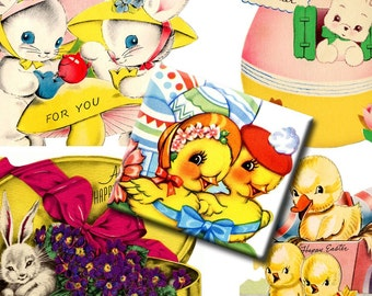 Digital Collage Sheets - Vintage Childrens Easter Greetings