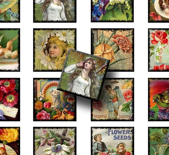 Digital Collage Sheet - Floral and People 1.5 inch squares