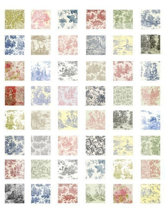 Digital Collage Sheet, Inchies, Scrabble Squares - Toile, Fabric