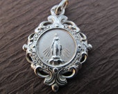 Art Nouveau  Virgin Mary Religious Medal French Sterling Silver  SS146