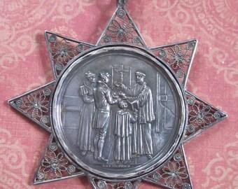 Antique Religious Medal Austrian Silver Baptismal Signed Heuberger 1821