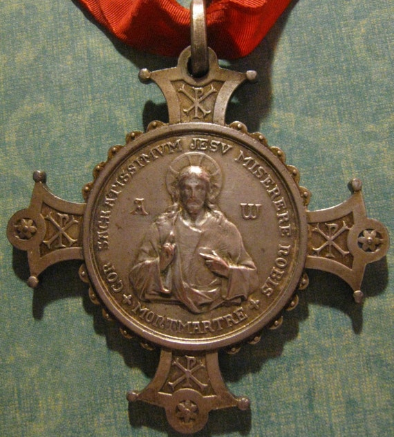 ANTIQUE SACRED HEART OF JESUS, ALPHA AND OMEGA CROSS PENDANT WITH RIBBON