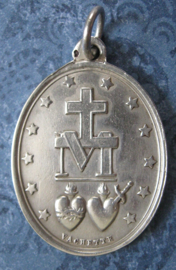 Antique French Sterling Silver Miraculous Medal Signed