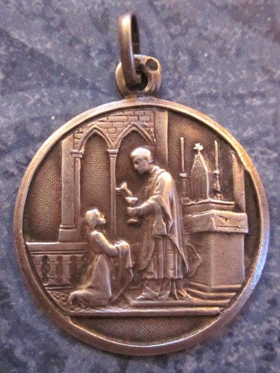 Holy Communion Religious Medal French Antique Sterling Silver  SS-453