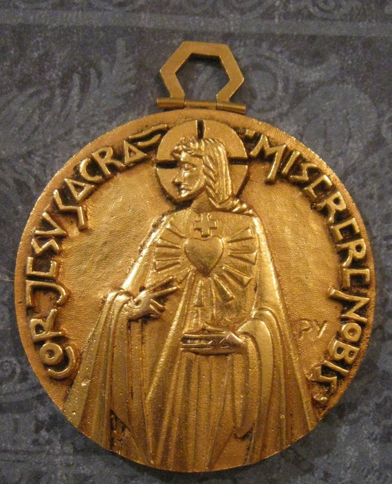 Antique Religious Medal French Large Sacred Heart Of Jesus Fernand Py