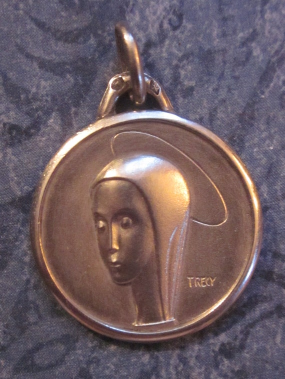 Vintage French Sterling Silver Modernist Virgin Mary Religious Medal   SS53