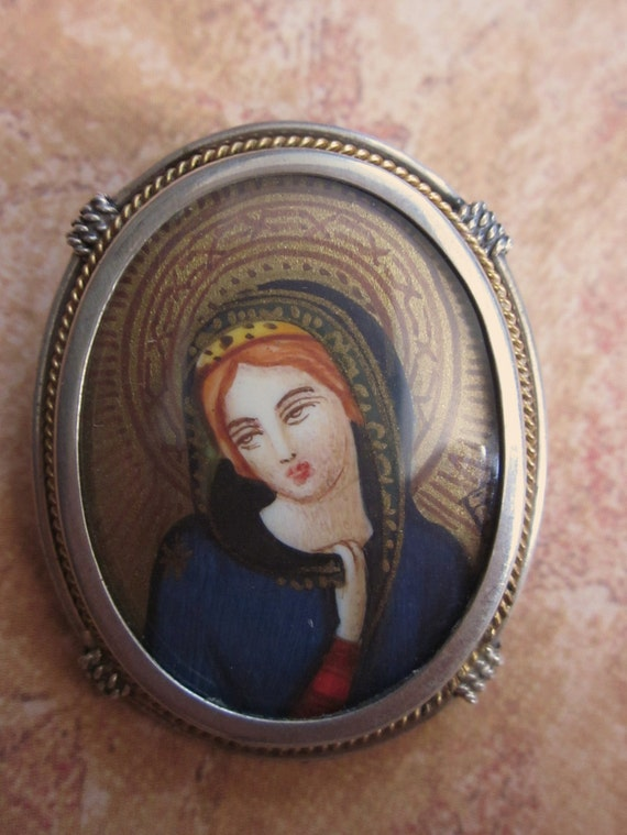 Antique Virgin Mary Brooch Hand Painted Miniature 800 Silver