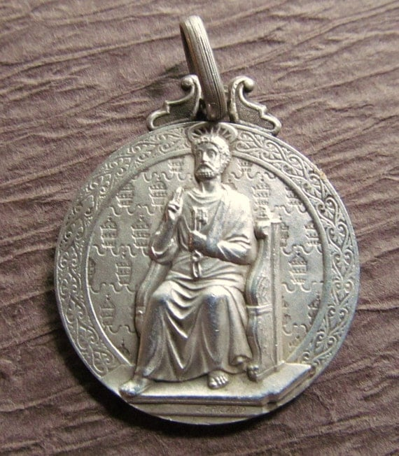 Antique Sterling French Saint Peter Religious Medal L.Tricard 1905 Catholic Pendant Jewelry   SS223