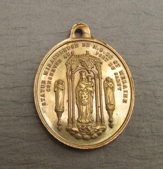 French Madonna Virgin Mary Antiqie Religious Medal Saint Gratian Catholic Pendant  SS448