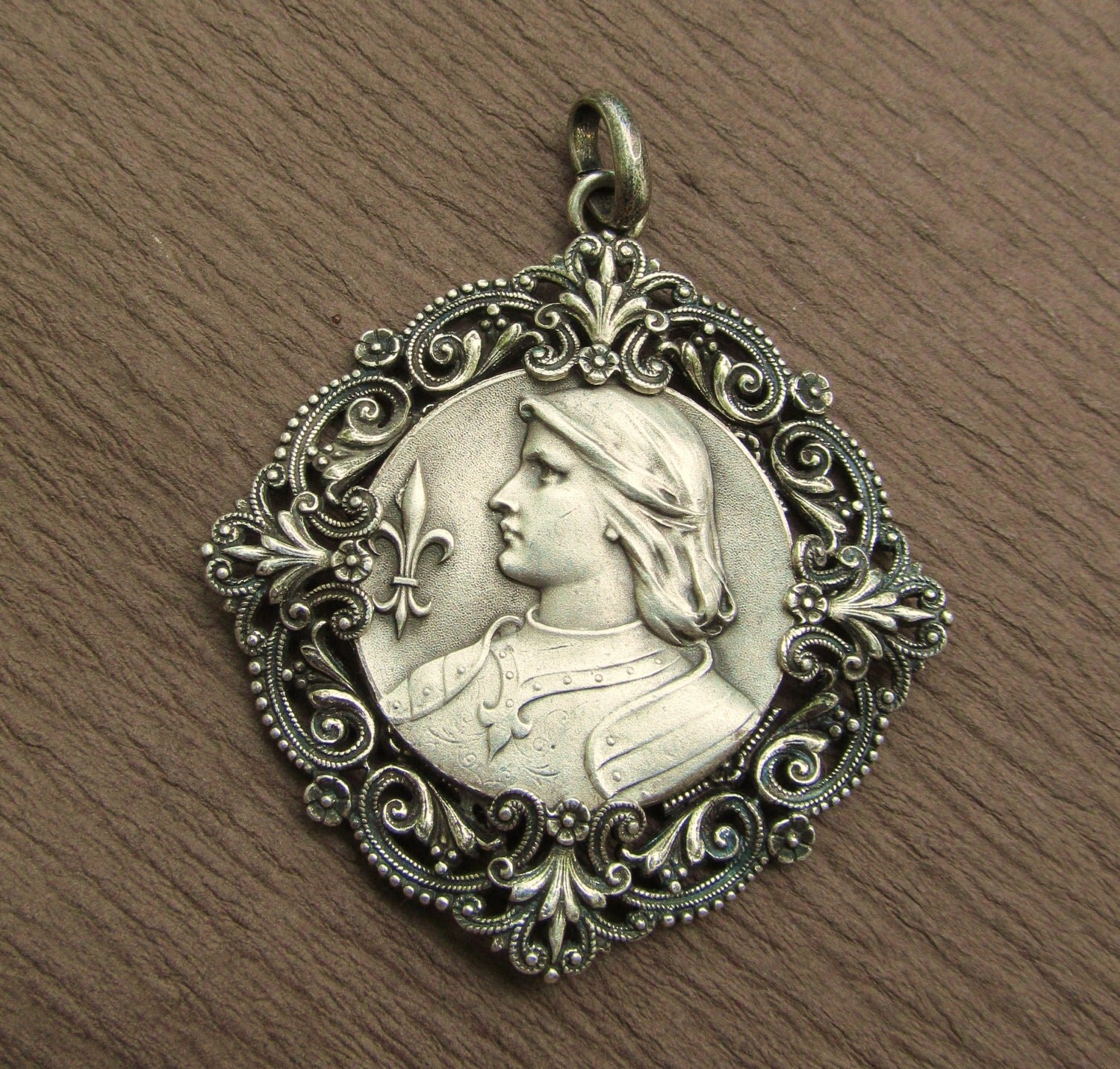 joan of arc religious medal vintage catholic pendant jewelry