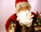 Custom Needle Felted Santa with Puppy type of your choice by sendsunshine