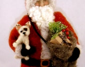 Needle Felted Santa with Puppy of your Choice and Bag of Christmas Gifts by sendsunshine
