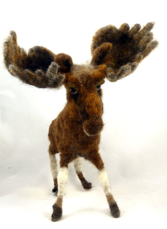 RESERVED for MeiLin - Needle Felted Brown Moose - sendsunshine