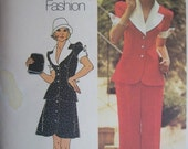 Vintage 1974 Simplicity Sewing Pattern Dress or Top and Wide Legged Pants