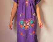 Mexican Purple Long  Dress Elegant Floral Colorful Embroidered Handmade Small