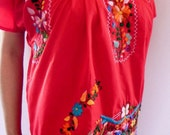 Mexican Red Mini Dress  Floral Hand Embroidered Spring Boho Style Colorful Tunic Medium