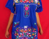 Mexican Blue Mini Dress Beautiful Flowers Handmade Embroidered Spring Summer Medium / Large
