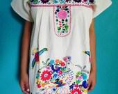 Mexican Mini Dress White Color Fine Peacok Embroidered Handmade 100 % Cotton Medium